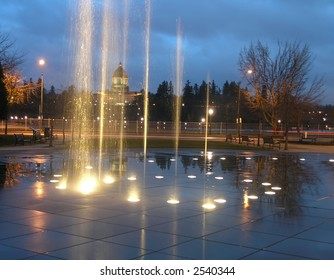 Fountain with Capitol Building in background; Olympia, Washington