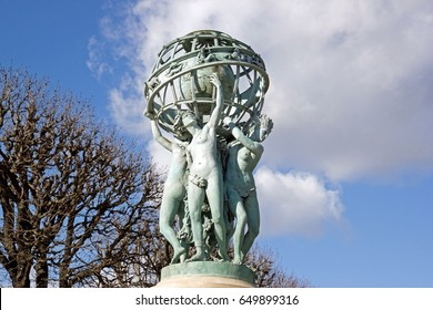 The fountain Carpeaux, the four women-continents bearing the world (Paris France). An ancient monument of Paris.