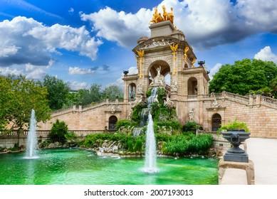 Fountain cascade in park De la Ciutadella in Barcelona, Catalonia, Spain. Architecture and landmark of Barcelona. Cozy cityscape of Barcelona - Shutterstock ID 2007193013