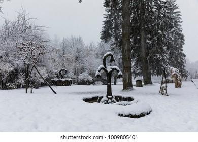 fountain, Cavalese, Val di Fiemme, Trentino Alto Adige, Italy, Europe