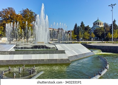 Fountain in the center of City of Pleven, Bulgaria