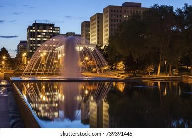 Fountain in the center of Edmonton. Edmonton, Alberta, Canada.