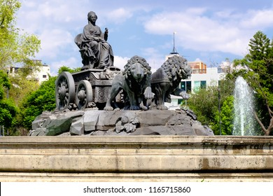 The fountain of Cibeles in Madrid Square, at colonia Roma in Mexico City - An exact copy from the original in Madrid built in 1777