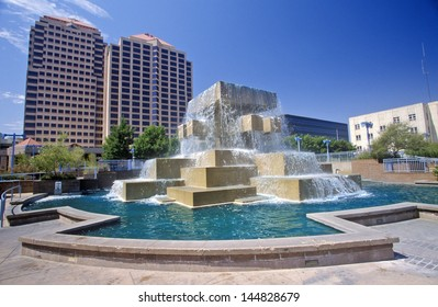 Fountain in the city center of downtown Albuquerque, NM