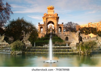 Fountain in Ciutadella Park at Golden Hour - January 2018 - Barcelona, Spain