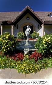Fountain and colourful garden.