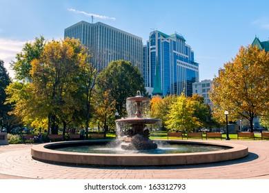 Fountain in Confederation park in Ottawa