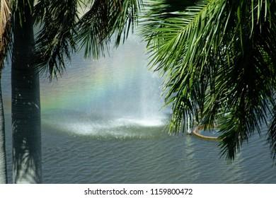 Fountain creating a rainbow