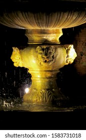 Fountain with a detail of a jaguar at night