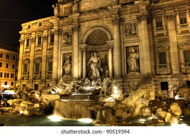 Fountain di Trevi by night - most famous Rome's fountains in the world. Italy.