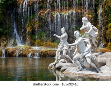 Fountain of Diana and Actaeon and The Big Waterfal. Mythological statues of nymphs in the garden Royal Palace in Caserta.