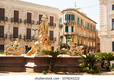 Fountain of Diana in Siracusa, Sicily, Italy.