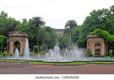 Fountain in the Dona Casilda park in city Bilbao