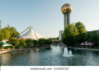 Fountain in a downtown city park in Knoxville Tennessee