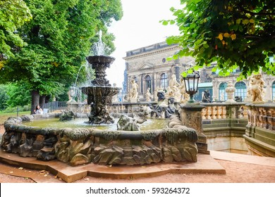 Fountain in Dresden old town, Saxony Germany
