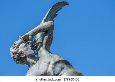The Fountain of the Fallen Angel (Fuente del Angel Caido) or Monument of the Fallen Angel, a highlight of the Buen Retiro Park in Madrid, Spain.