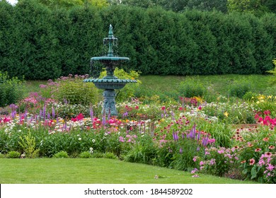 Fountain and Flowers in The Clemens Gardens in St. Cloud, Minnesota
