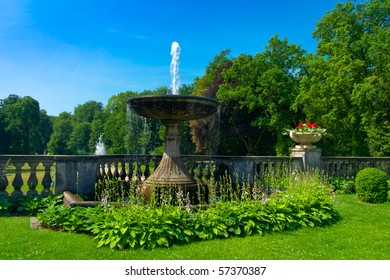 fountain with flowers in park Sanssouci, Potsdam, Berlin