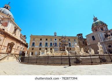 Fountain Fontana Pretoria (1554), by Francesco Camilliani on Piazza Pretoria (Square of Shame) restoration, Palermo old city center, Sicily, Italy.
