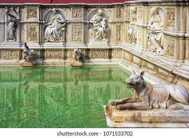 Fountain Fonte Gaia on Piazza del Campo Square in Siena, Tuscany, Italy