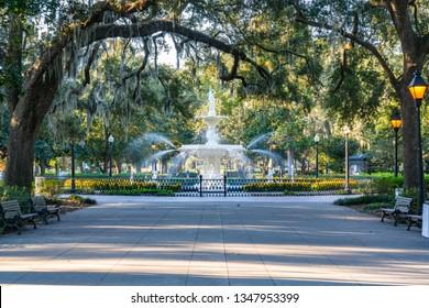 Fountain in Forsyth Park in Savannah, Georgia