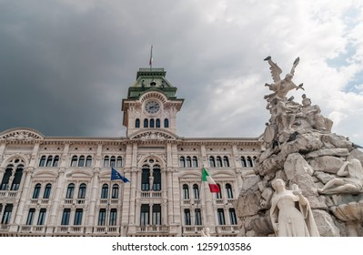 The Fountain of the Four Continents and the Town Hall, Piazza Unità d'Italia, Trieste, Friuli Venezia Giulia, Italy