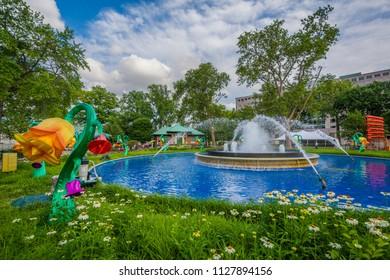 Fountain at Franklin Square, in Philadelphia, Pennsylvania.