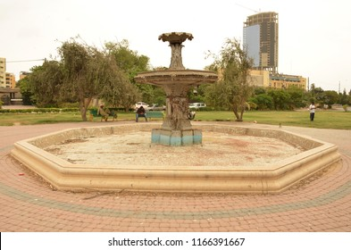 Fountain of Frere hall Park landmark public place history culture and architecture of Karachi,  Karachi Pakistan, August 28, 2018