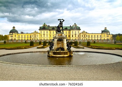 Fountain in front of Drottningholms slott (royal palace) outside of Stockholm, Sweden