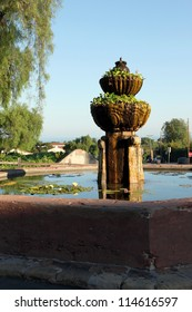 The fountain in front of Mission Santa Barbara in California USA
