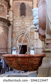 Fountain in front of Seville cathedral