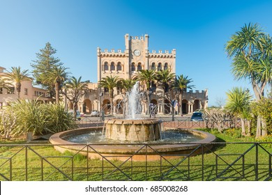 Fountain in front of the Town Hall of Ciutadella in Menorca. Spain