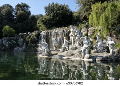 Fountain in the garden of the palace of Caserta, Italy