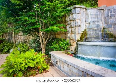 Fountain and garden at Piedmont Park in Atlanta, Georgia.