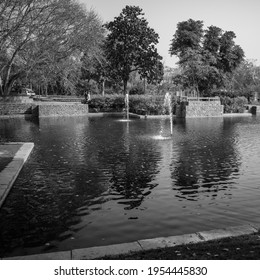 Fountain in the garden of Sunder Nursery in Delhi India, working fountain in the Sunder Nursery complex, water in the fountain, fountain in the park during morning time - Black and White