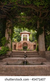 Fountain in the gardens at Alhambra in Spain