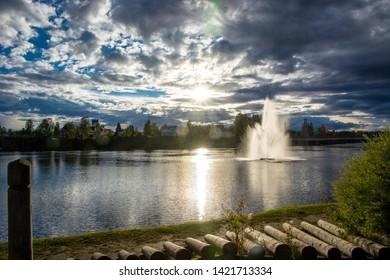 Fountain at Glomma river in Elverum in Norway, Scandinavia