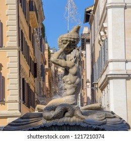 fountain of the God Triton in Piazza Barberini, Rome Italy. Made by Bernini