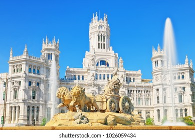 Fountain of the Goddess Cibeles (Fuente de La Diosa Cibeles) and Cibeles Center or  Palace of Communication, Culture and Citizenship Centre in the Cibeles Square of Madrid.