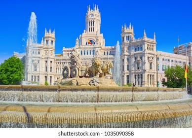 Fountain of the Goddess Cibeles (Fuente de La Diosa Cibeles) and Cibeles Center or  Palace of Communication, Culture and Citizenship Centre in the Cibeles Square of Madrid.
