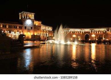 Fountain at the Government of the Republic of Armenia at night, it is located on Republic Square in Yerevan, Armenia.