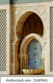 Fountain in Hassan II mosque, Casablanca, Morocco