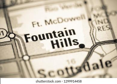 Fountain Hills. Arizona. USA on a map