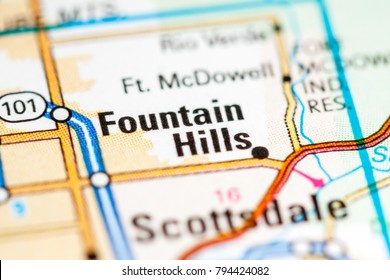 Fountain Hills. Arizona. USA on a map
