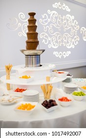a fountain of hot chocolate - a sweet table