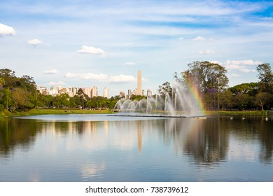 Fountain of the Ibirapuera park and in the background the Obelisk of Sao Paulo.
