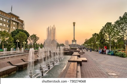 Fountain and Independence Monument in Dushanbe, the Capital of Tajikistan. Central Asia