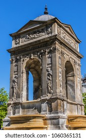Fountain of the Innocents (Fontaine des Innocents, 1547 - 1550) at place Joachim-du-Bellay. Paris. Fountain of the Innocents is oldest monumental fountain in Paris, France.