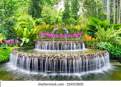 Fountain inside Singapore's National Orchid Garden