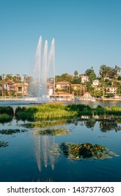 Fountain in the lake at Echo Park in Los Angeles, California